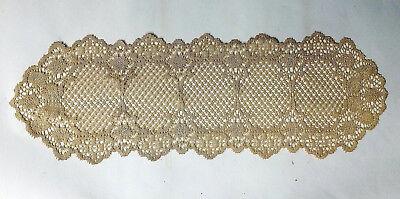 Antique Gold 13 x 36 Lace Table Runner Crochet Style Carmen Livingroom Bedroom