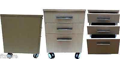 cassettiera a 3 cassetti per il bagno con ruote mobile da bagno rovere chiaro