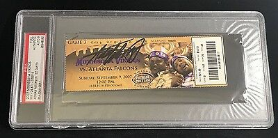 9/9/2007 SIGNED ADRIAN PETERSON NFL DEBUT 1ST TD TOUCHDOWN FULL TICKET PSA/DNA 9