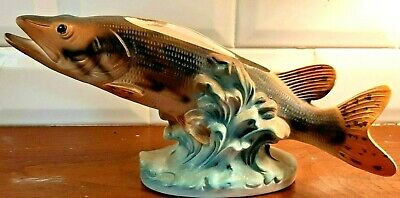 Vintage Trout Planter - Fish Business Card Holder - Fishing Cabin Lodge Decor