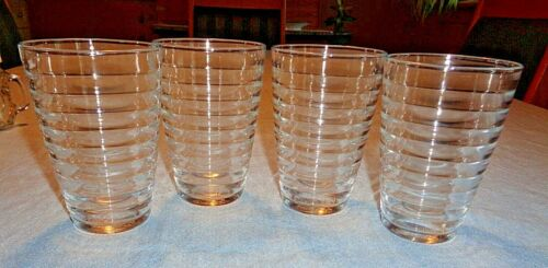 Vintage DURALEX France (4) Clear honeycomb ringed Glasses