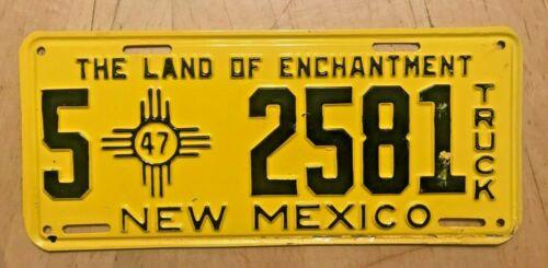 "1947 NEW MEXICO  TRUCK LICENSE PLATE ""  5  2581 "" NM 47  ALL ORIGINAL CONDITION"