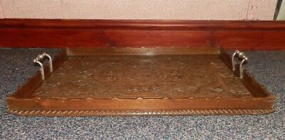 Antique Victorian Oak 'Country House' Serving Tray W/ Silver Handles '1894'