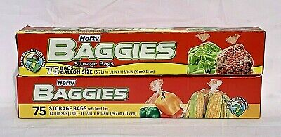 Hefty Baggies Food Storage Gallon Bags Size 75 Count, Pack of 2 FAST SHIPPING
