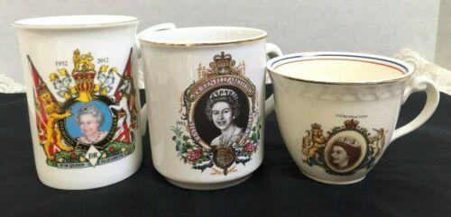 QUEEN ELIZABETH II SIILVER & DIAMAOND JUBILEE & CORONATION CUPS LOT 3-EXCELLENT