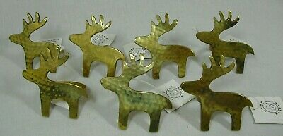 Kemp & Beatly 7 pc Solid Hammered Brass Reindeer Moose Napkin Holder Rings Decor ()