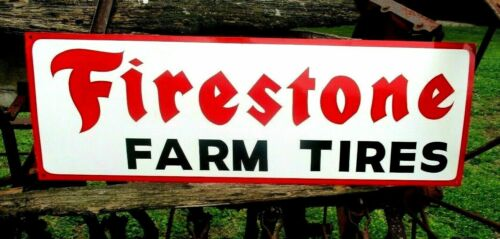 """Large Vintage Hand Painted FIRESTONE FARM TIRES Tractor Truck Gas Oil 36"""" Sign R"""