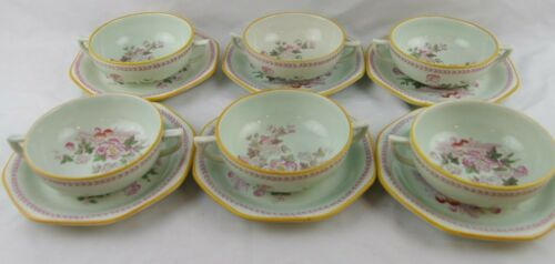 Adams Calyx Ware Lowestoft Old Mark Set 6 Cream Soups and Saucers