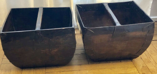 ANTIQUE CHINESE WOOD RICE GRAIN MEASURE BUCKETS WITH HANDLES, SOLD AS SET