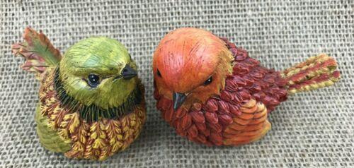 Fall Harvest Birds Junco Chickadee Autumn Colors Figurine Decor Oak Leaf 2 Birds