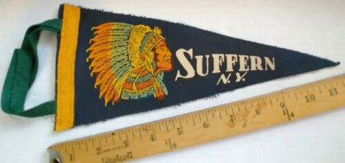 "VINTAGE SUFFERN NEW YORK FELT PENNANT 11.5"" {CS330}"