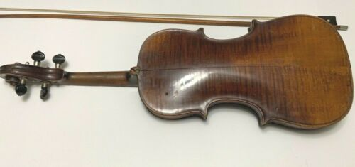 HOPF Violin Full Size Antique Tiger Maple Back Bow & Case AsIs Newport RI Estate