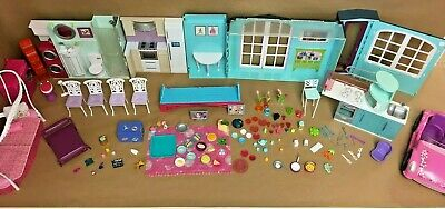 Huge Barbie Dream House & Accessory Mixed Lot Kitchen Car Food Pots Pans Dishes
