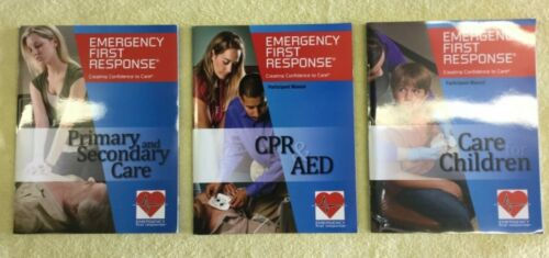 EMERGENCY FIRST RESPONSE Manuals -3 as pictured Primary & Secondary Care CPR AED