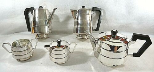 English Art Deco Silver Plate Teaset Sold by Kirby and Beard & Co, Paris, France