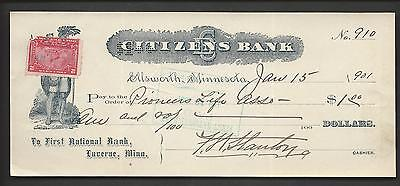 Citizens Bank  Pioneers Life Assoc   1St National Bank  Ellsworth  Mn  1901