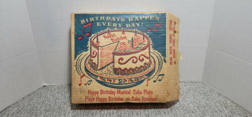 VINTAGE METAL MUSICAL CAKE PLATE PEDISTAL WITH ORIGINAL BOX 1940