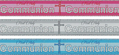 FIRST HOLY COMMUNION BANNERS PINK BLUE SILVER COMMUNION DECORATIONS (PA)](Communion Banners)