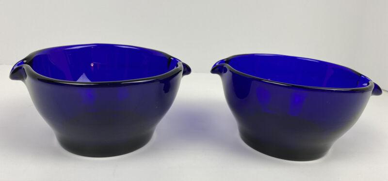 Pair 19th Century Bristol Blue Cobalt Glass Wine Rinsers Double Spout