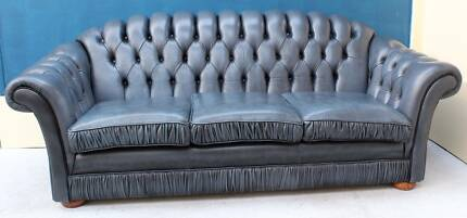 Genuine Leather Lounge CHESTERFIELD 3 Seater SOFA COUCH