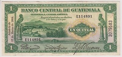 Guatemala Banco Central 1 Quetzal 1934 P14a First Date VF XF Bird Rare Currency