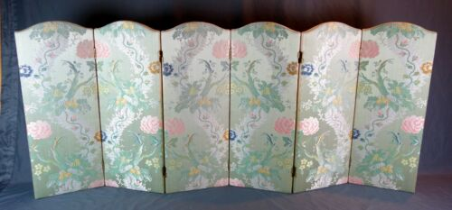 """Vintage Chinese Floral Embroidery Asian Folding Screen Room Divider 29.75"""" Tall"""