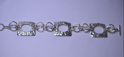 - MEXICAN STERLING SILVER HAMMERED OPEN SQUARE & CIRCLE LINK BRACELET - 33.4 GRAMS