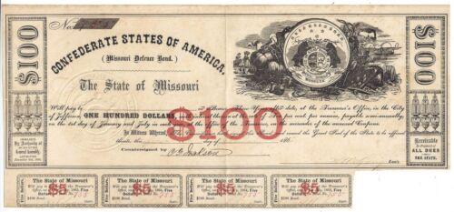 Cr61A 1862 Confederate States of America Missouri Defence Bond $100 Bond No.755