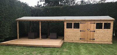 14'x10' Tanalised 19mm t&g Loglap Summerhouse inc LARGE PATIO CANOPY AREA