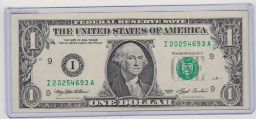 $1 SERIES 1993 MINNEAPOLIS I/A BLOCK (FW) UNCIRCULATED P-1 MULE KEY NOTE