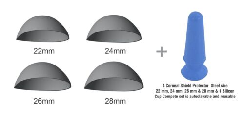 Stainless Steel Corneal Shield Protector 22, 24, 26 & 28 mm Set with Suction Cup