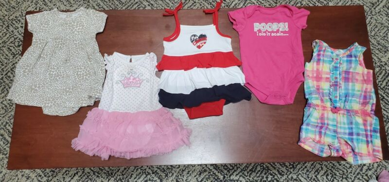 Baby Girl Clothes 9 M /9-12 M /6-9 M Summer Lot Of 5 One Piece  Outfits