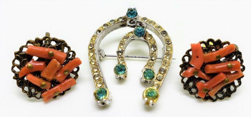 Victorian Coral Screw Back Earrings & Pot Metal Horseshoe Rhinestone Brooch