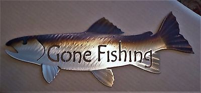 Metal Gone Fishing Trout/Fish,Fly,Cabin.Lodge,Art,Wall,Home decor,Hand made (New Trout Fly Fishing Cabin)