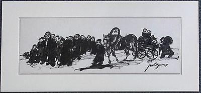 MOSHE BERNSTEIN, JUDAICA  TUSCHZEICHNUNG RIESIG, MUSEAL, 125cm x 35cm