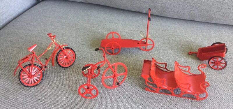Christmas Ornaments/decorations Red Sleigh, Bicycle, Tricycle, Wagon, & Scooter