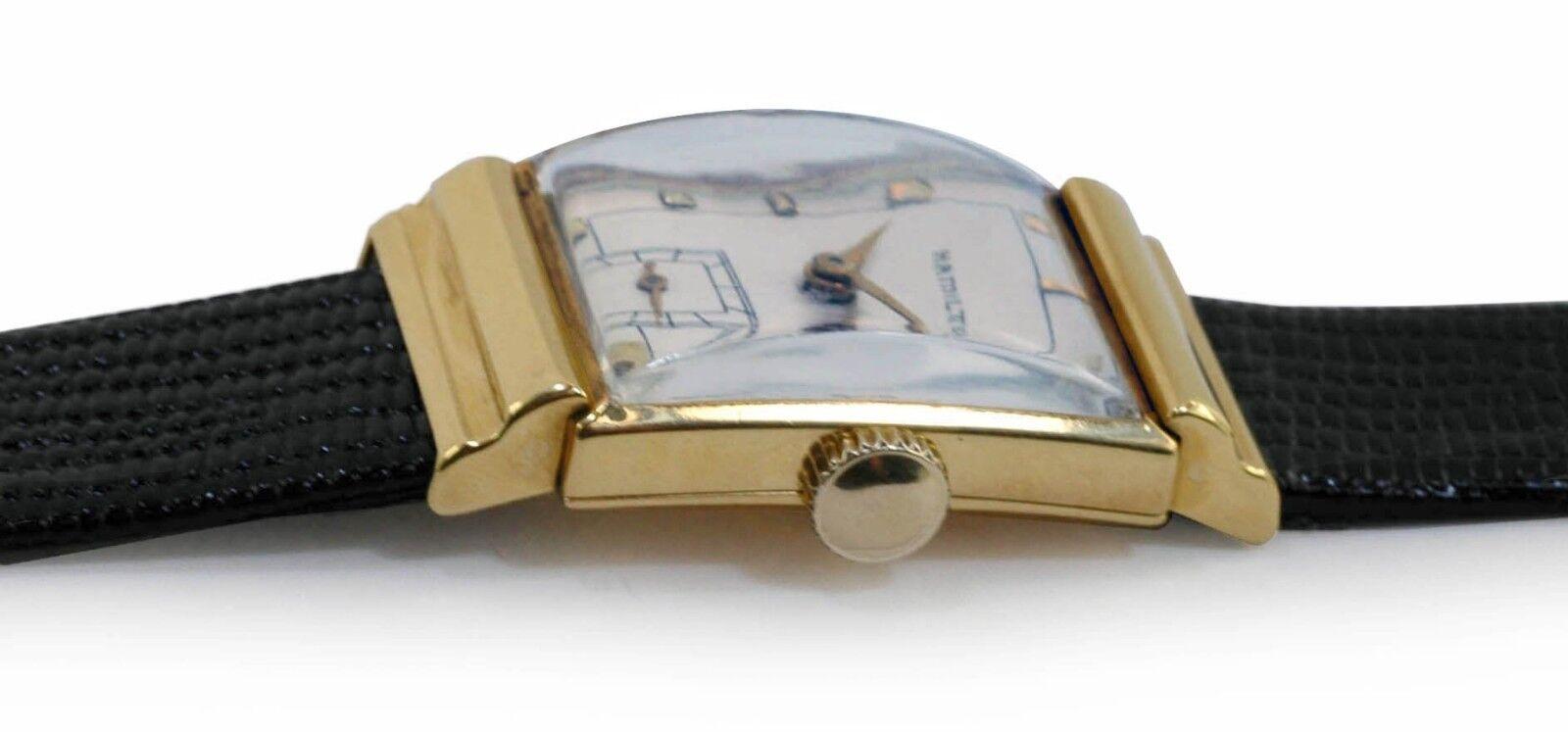 Vintage 1940's HAMILTON 18k Yellow Gold Fancy Case Antique Men's Watch