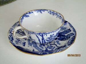 Royal Crown Derby Cup and Saucer - Blue Mikado