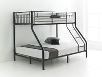 **Black Silver or White** Brand New Creative Trio Sleeper Metal Bunk Bed With OR Without Mattress