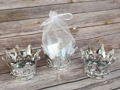 12 Silver Shower Crown Favors Prince Princess Party Baptism Decoration Girl - Crown Party Favors