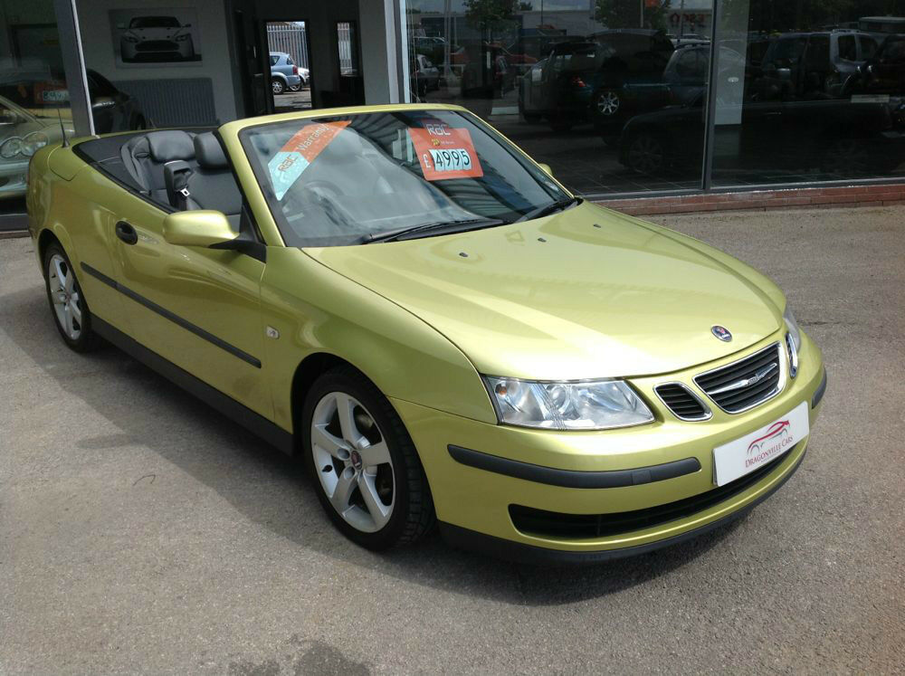 2005 saab linear 1 8t convertible cabriolet lime yellow. Black Bedroom Furniture Sets. Home Design Ideas