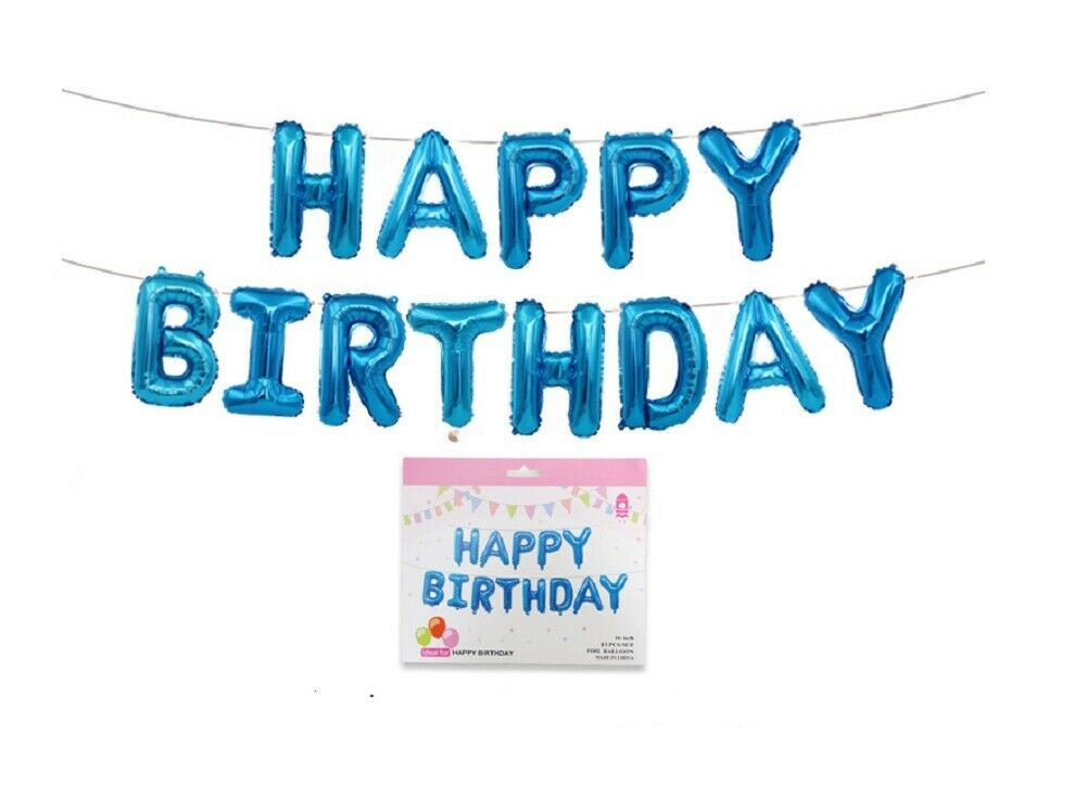 Happy Birthday Balloons Banner Balloon Bunting Party Decoration Self Inflating Balloons