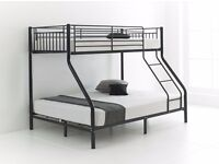**BRAND NEW**TRIO SLEEPER METAL BUNK BED WITH MATTRESS AND DOUBLE BOTTOM SINGLE TOP ORDER NOW !!