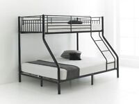 💖❤💖BLACK, WHITE & SILVER❤💖UPTO 85% OFF💖❤NEW TRIO SLEEPER METAL BUNK BED + BUDGET MATTRESSES £189