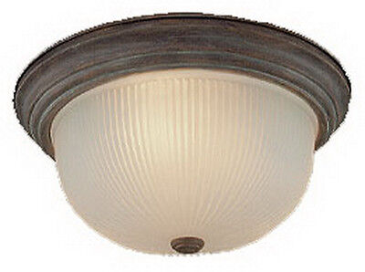 """Weathered Brick And Frosted Ribbed Glass 15"""" Flush Mount Ceiling Light"""