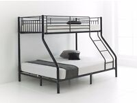 SAME DAY DELIVERY== Trio Sleeper Metal Bunk Bed In Silver Color For Sale with Free Delivery