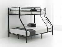 Furniture Hits Home-Trio Sleeper Metal Bunk Bed Frame in silver Color-Mattress Options