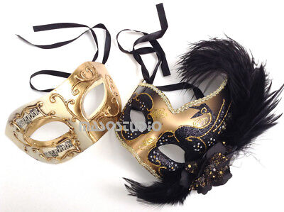 Couples Black Gold Masquerade ball mask birthday wedding Mardi Gras Parade Party