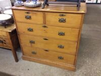 Early 20th century solid pine chest of drawers