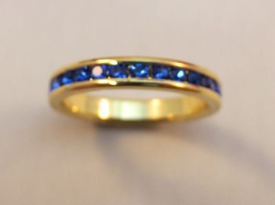 3MM 14KT GOLD EP STACKABLE SEPTEMBER SAPPHIRE WEDDING ETERNITY RING SIZE 5